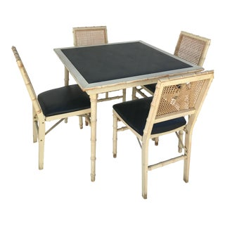 Stakmore Faux Bamboo Foldable Vintage Game Table & Chairs For Sale