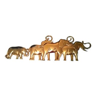 Syroco Gold Elephant Parade Wall Hanging For Sale