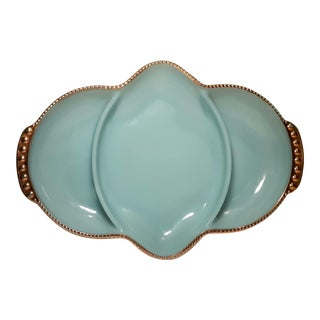 1950s Vintage Anchor Hocking Fire King Oven Ware Delphite Blue Divided Relish Tray For Sale