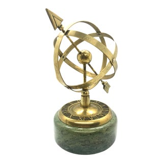 1970s Brass Armillary Sphere on Verde Indios Marble Base For Sale
