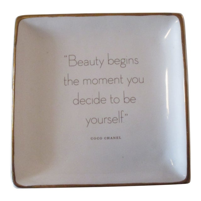 Trinket Tray Dish With a Quote From Coco Chanel For Sale