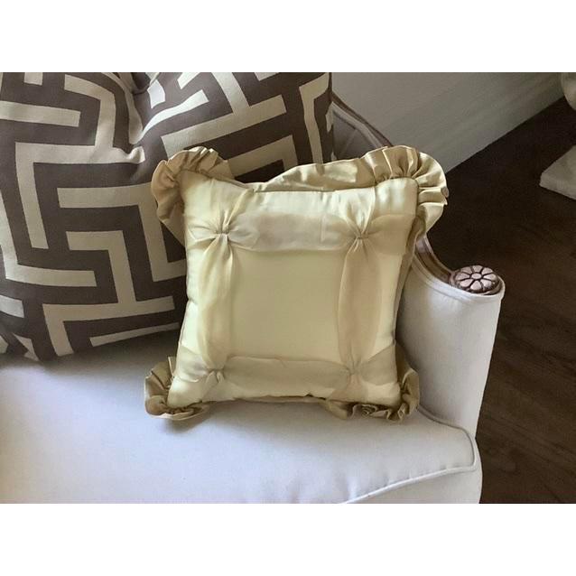 2000 - 2009 Custom Golden Silk and Taffeta Pillow For Sale - Image 5 of 7
