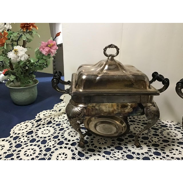 Sheffield Vintage Silverplate Covered Buffet Server Chafing Dish a Pair For Sale - Image 4 of 12