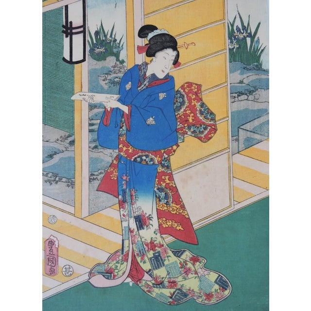 Asian Antique Japanese Ukiyo-E Woodblock Triptych of Prince Genji by Utagawa Kunisada 1786-1865 For Sale - Image 3 of 11