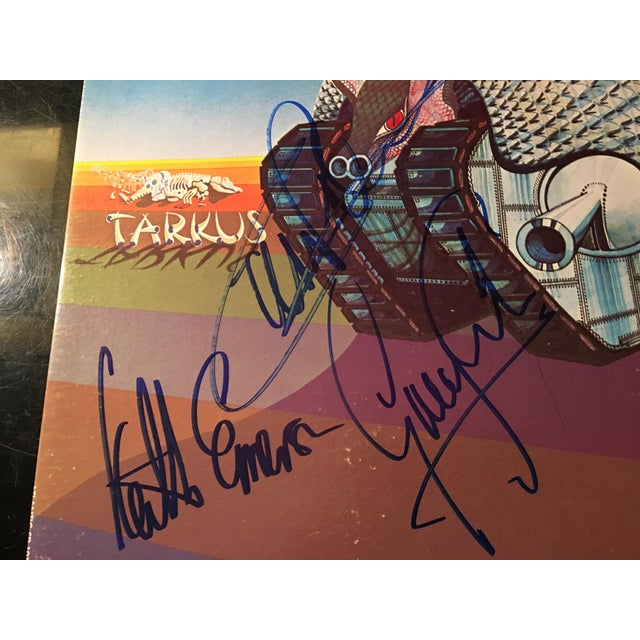 Black Emerson,Lake and Palmer 'Tarkus' Autographed Album Cover For Sale - Image 8 of 9