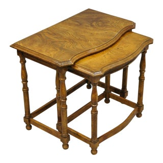 20th Century British Colonial Drexel Heritage Oak Nesting Tables - 2 Pieces For Sale