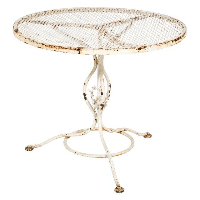 Vintage White Iron Garden Table For Sale