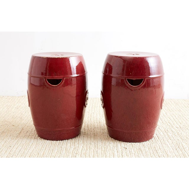 Mid 20th Century Chinese Oxblood Sang De Boeuf Style Garden Stools For Sale - Image 5 of 13