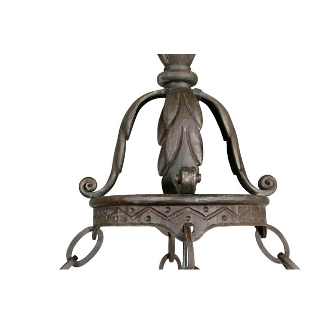 Arts & Crafts Wrought Iron Chandelier For Sale - Image 4 of 12