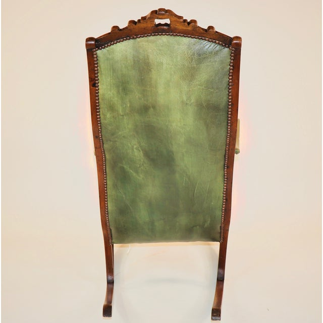 1830s English William IV Mahogany & Leather Rocking Chair For Sale In Chicago - Image 6 of 13