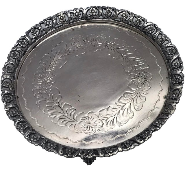 A 19Th Century Continental 800 Silver Salver Decorated With An Openwork Floral Border Centering An Engraved Floral Wreath...