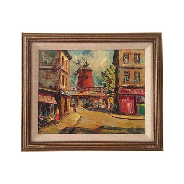 1950s Moulin Rouge Oil Painting - Image 1 of 5