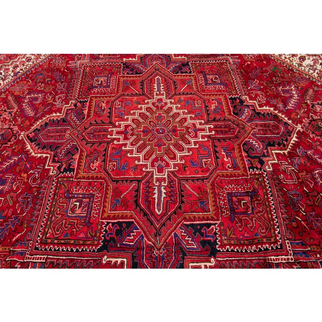 """Traditional Vintage Persian Heriz Rug, 10'2"""" X 12'10"""" For Sale - Image 3 of 12"""