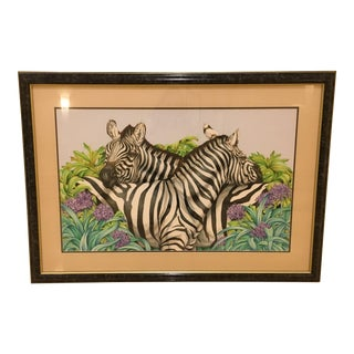 Late 20th Century Jane Gaston Original Zebra Watercolor Painting For Sale
