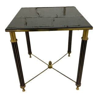 Vintage Mid Century Bronze and Glass French Side Table For Sale