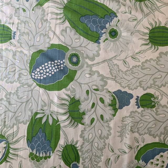 Christopher Farr Carnival Linen Fabric in Green and Blue -2 1/2 Yards For Sale In New York - Image 6 of 10