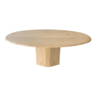 Vintage Italian Oval Travertine Dining Table With Hexagonal Base For Sale
