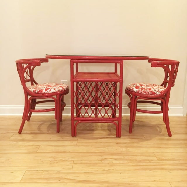 Vintage Rattan Chat Dining Set - Image 2 of 6