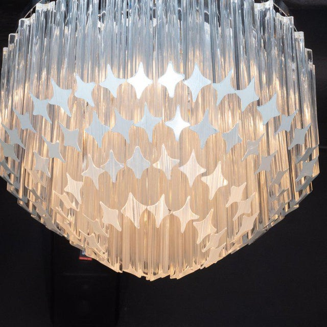 Camer Glass Italian Mid-Century Modern Camer Chandelier With Chrome Detailing For Sale - Image 4 of 8