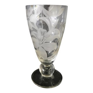 Mid Century Franz Grosz Etched Glass Vase For Sale