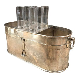 Gucci Vintage Ice Bucket With 6 Cups For Sale