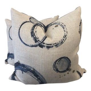 """Kravet Couture """"Retouche Teal"""" Linen 22"""" Pillows-A Pair For Sale"""