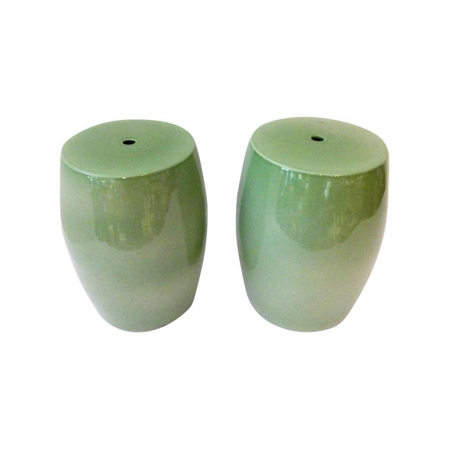 Celadon Garden Seats - Pair - Image 1 of 4