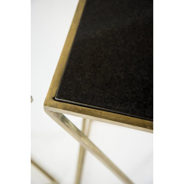 Modern Gold Steel & Black Granite Accent X Frame Tables - A Pair - Image 6 of 11