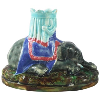 19th Century English Majolica Joseph Holdcroft Attributed Elephant Candlestick For Sale