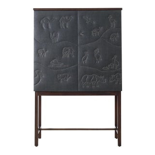 Otto Schulz Rare Black Cabinet With Nailhead Animals for Boet, Sweden, Ca. 1940