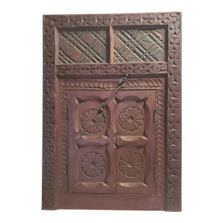 1950s Vintage Moroccan Hand Carved Hanging Window With Doors For Sale