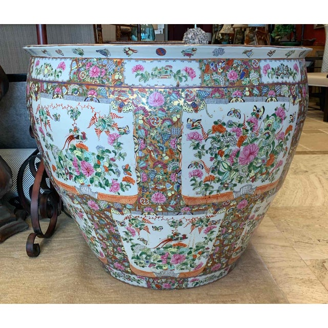 """Chinese Asian Antique Famille Rose Palace Fish Bowl 31"""" For Sale - Image 3 of 13"""