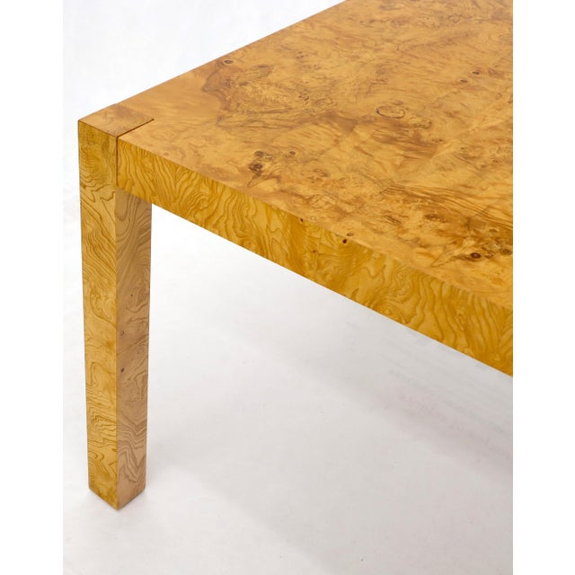 Wood Rectangle Shape Burl Wood Dining Room Table with Two Extension Leaves Boards For Sale - Image 7 of 12