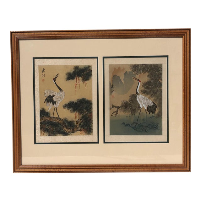 Asian Cranes Watercolor on Silk For Sale