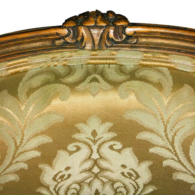 1950s 1950s Louis XV Style Champagne Gold Fabric Chairs - a Pair For Sale - Image 5 of 6