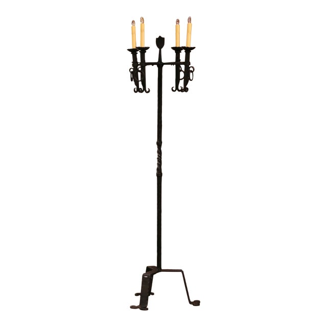 Early 20th Century French Gothic Forged Iron Four-Light Floor Lamp For Sale
