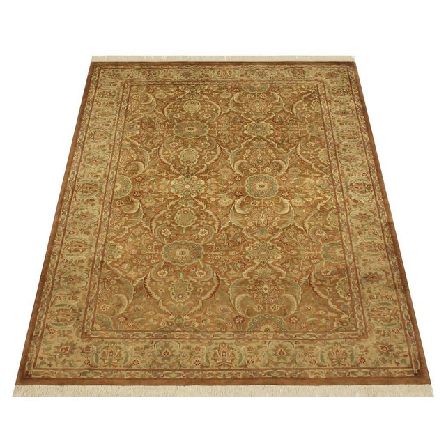 Pak-Persian Jenise Lt. Brown/Lt. Tan Wool Rug - 4'7 X 6'11 For Sale - Image 4 of 8