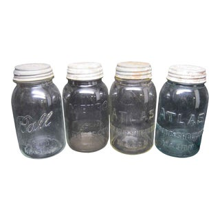 Multicolored Variety Canning Jars - Set of 4 For Sale