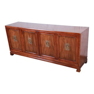 John Widdicomb Mid-Century Hollywood Regency Chinoiserie Walnut Sideboard Credenza For Sale
