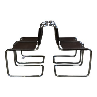 Mid Century Marcel Breuer Chrome & Leather Chairs - Set of 4 For Sale