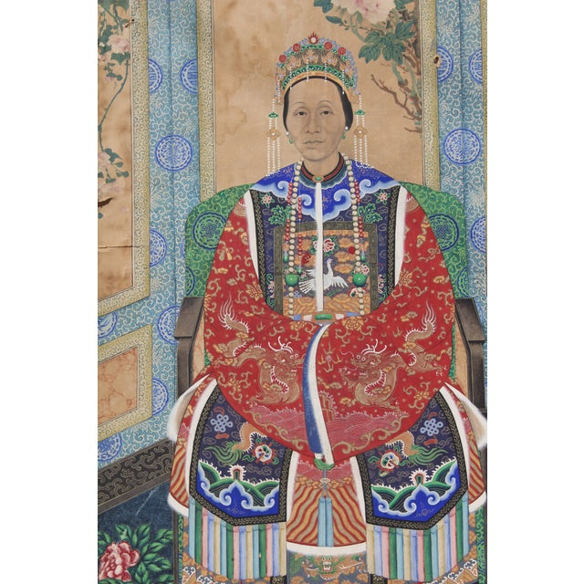 Paint Late Ching Chinese Court Lady Painting For Sale - Image 7 of 8