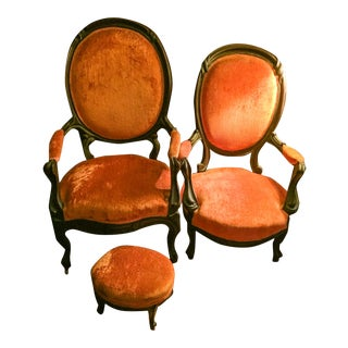Victorian Mahogany Frame Lady's & Gentleman's Chairs & Oval Footstool For Sale