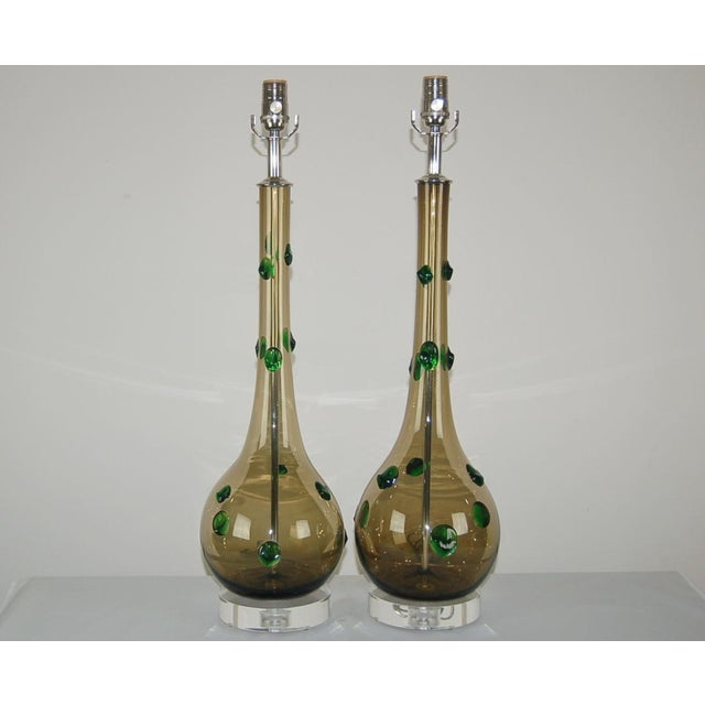 Vintage Murano glass table lamps in SMOKEY BRONZE with prunts of EMERALD GREEN. These are a beautifully matched pair. They...