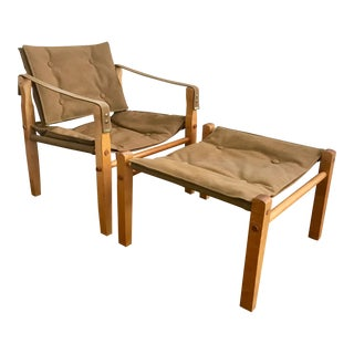 Vintage Gold Medal Safari Chair and Ottoman For Sale
