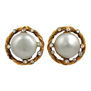 Chanel Bombe Pearl and Crystal Earclips For Sale