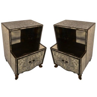 Pair Mirrored Night Stands Attributed to James Mont For Sale