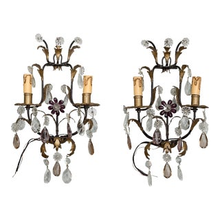 Italian Two-Light Tole and Crystal Sconces - a Pair For Sale