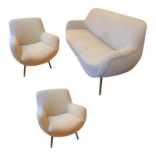 Gio Ponti Set Newly Reupholstered in Maharam Boucle Cloth