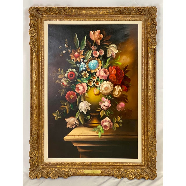 Late 20th Century Vintage Chelsea House Floral Oil Painting For Sale - Image 5 of 5