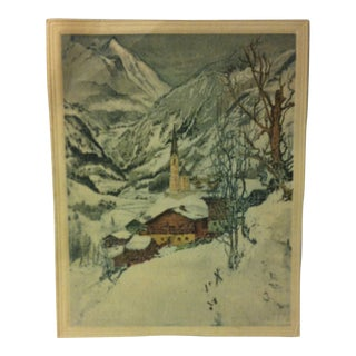 """Vintage - Color Print on Paper, """"Mountain Steeple"""" - Circa 1930 For Sale"""
